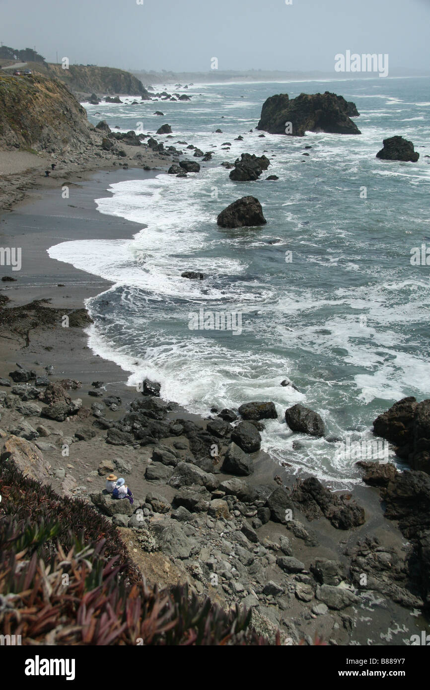 View of Carmet Beach, Sonoma Coast State Beach on the Pacific Coast Highway, Route 1, California. Stock Photo