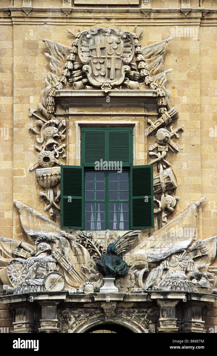 Italianate c18th Baroque Window, Auberge de Castile Léon & Portugal (now Prime Minister's Office), - Stock Image