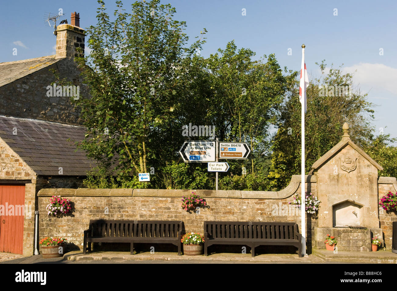 Public seating in the Village of Slaidburn in the Forest of Bowland Lancashire North West England - Stock Image