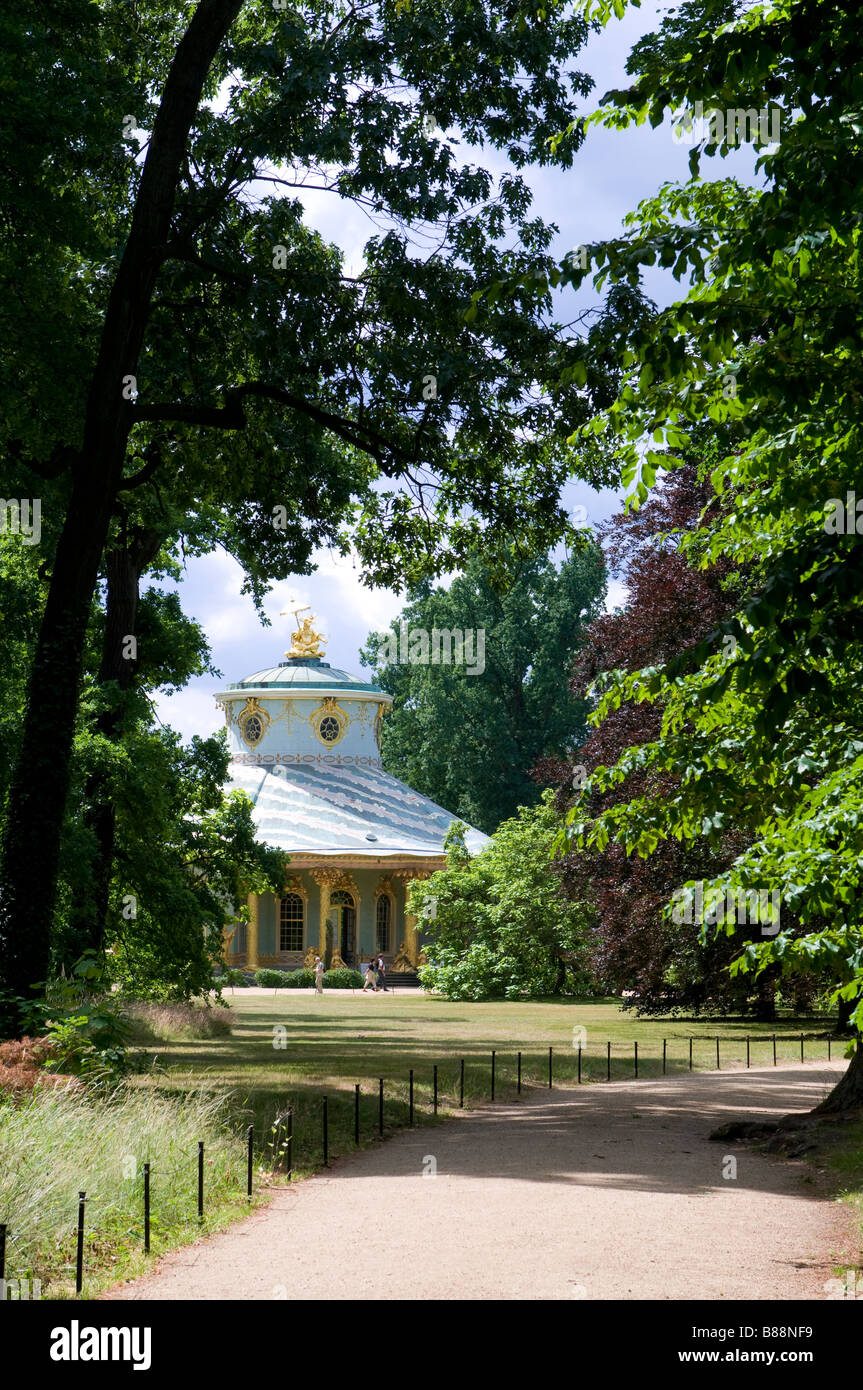 The chinese pavillion in the gardens of Sanssouci Potsdam Germany - Stock Image