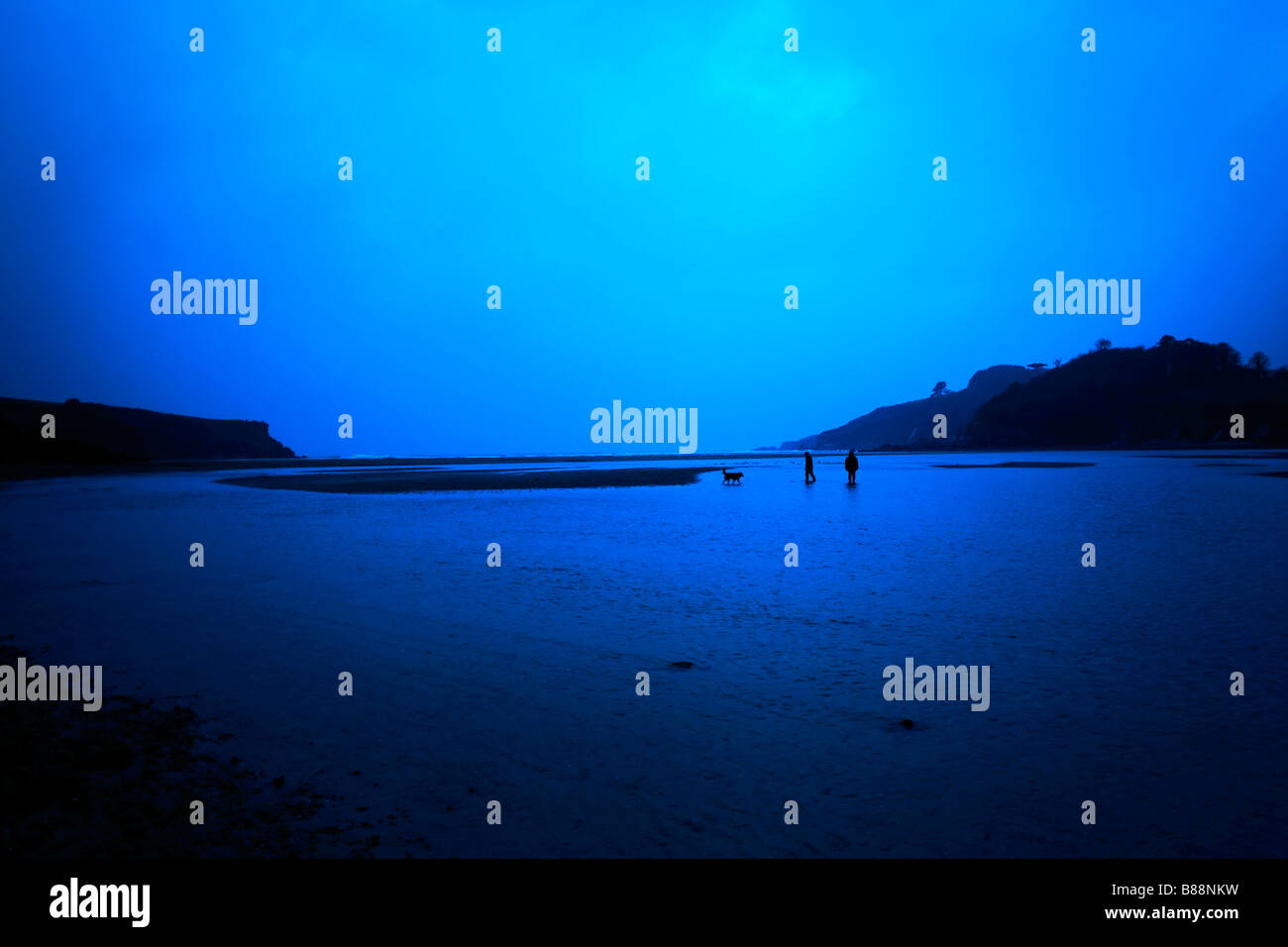 Two people walking their dog in the Erme Estuary, Devon on a winter's evening - Stock Image