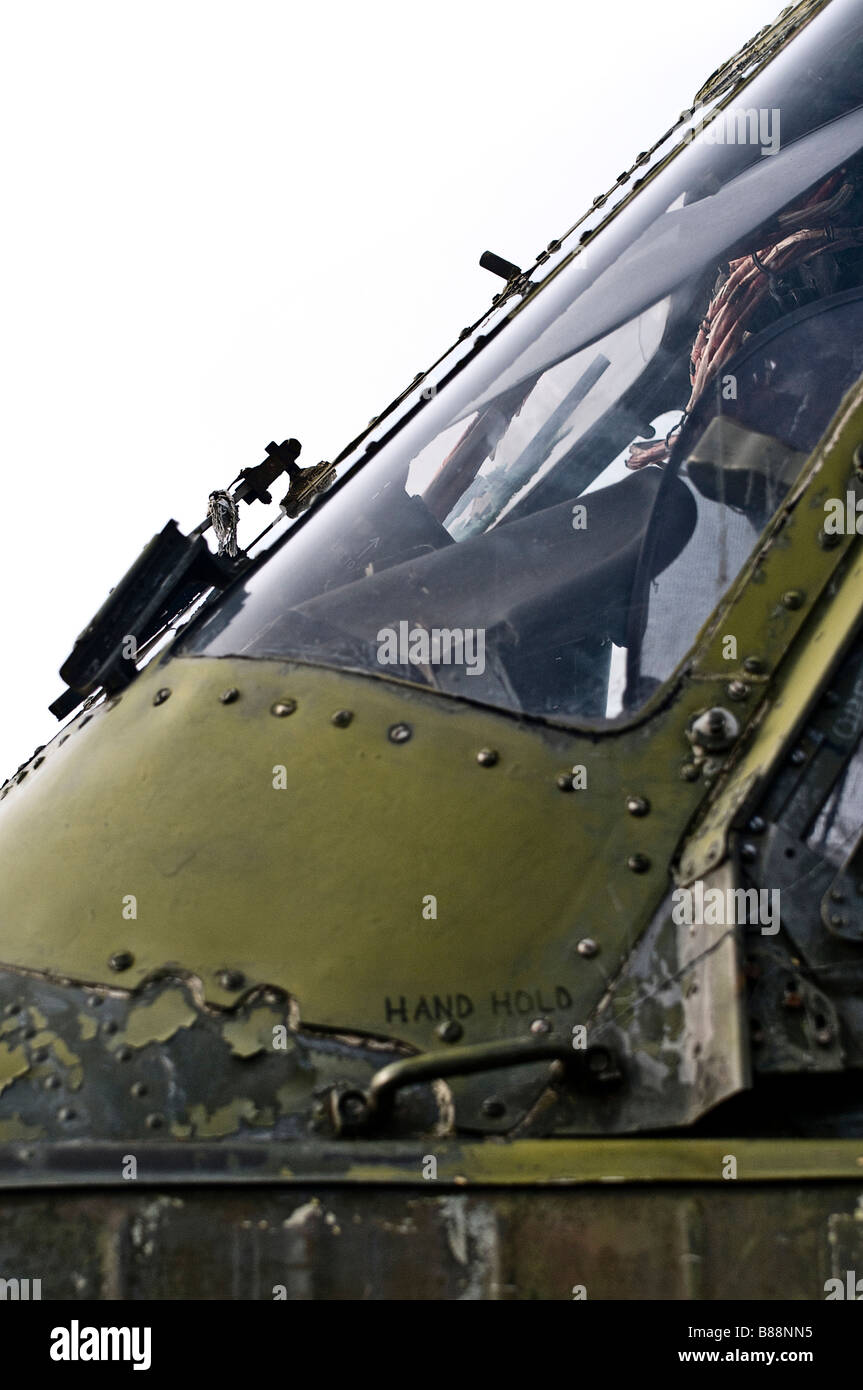 Military Helicopter cockpit - Stock Image