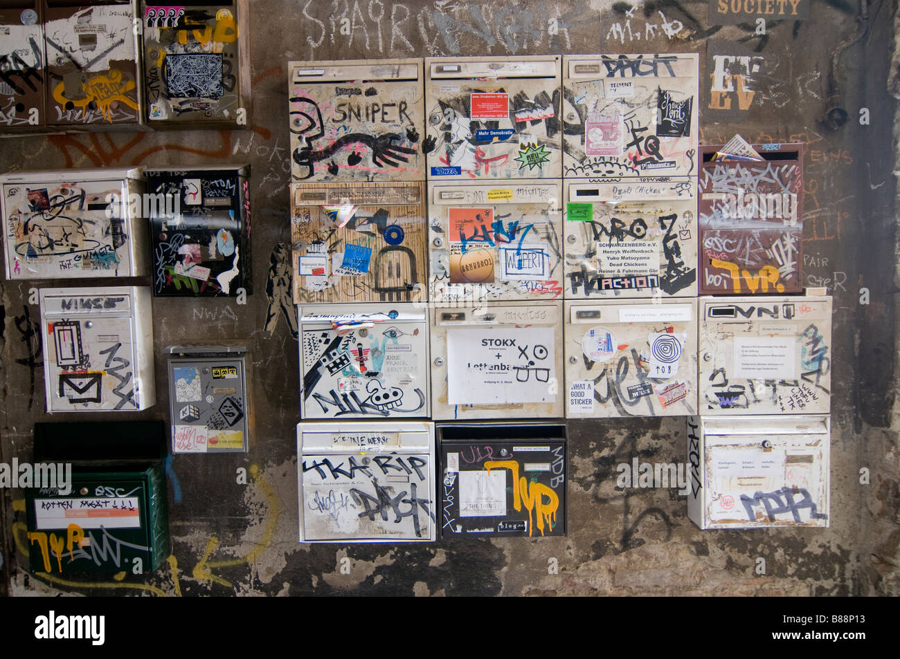 Postboxes full of Graffiti in the famous Hackescher Markt Berlin GermanyBerlin - Stock Image