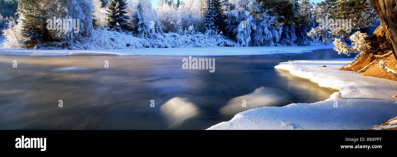Dal River in winter in Dalarna Provence of Sweden Stock Photo