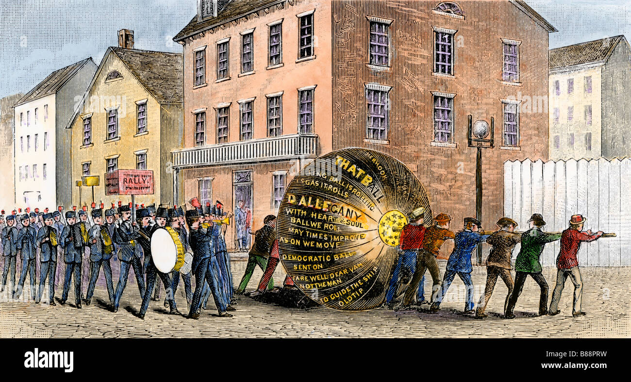 Tippecanoe procession during William Henry Harrison's presidential campaign 1840 - Stock Image