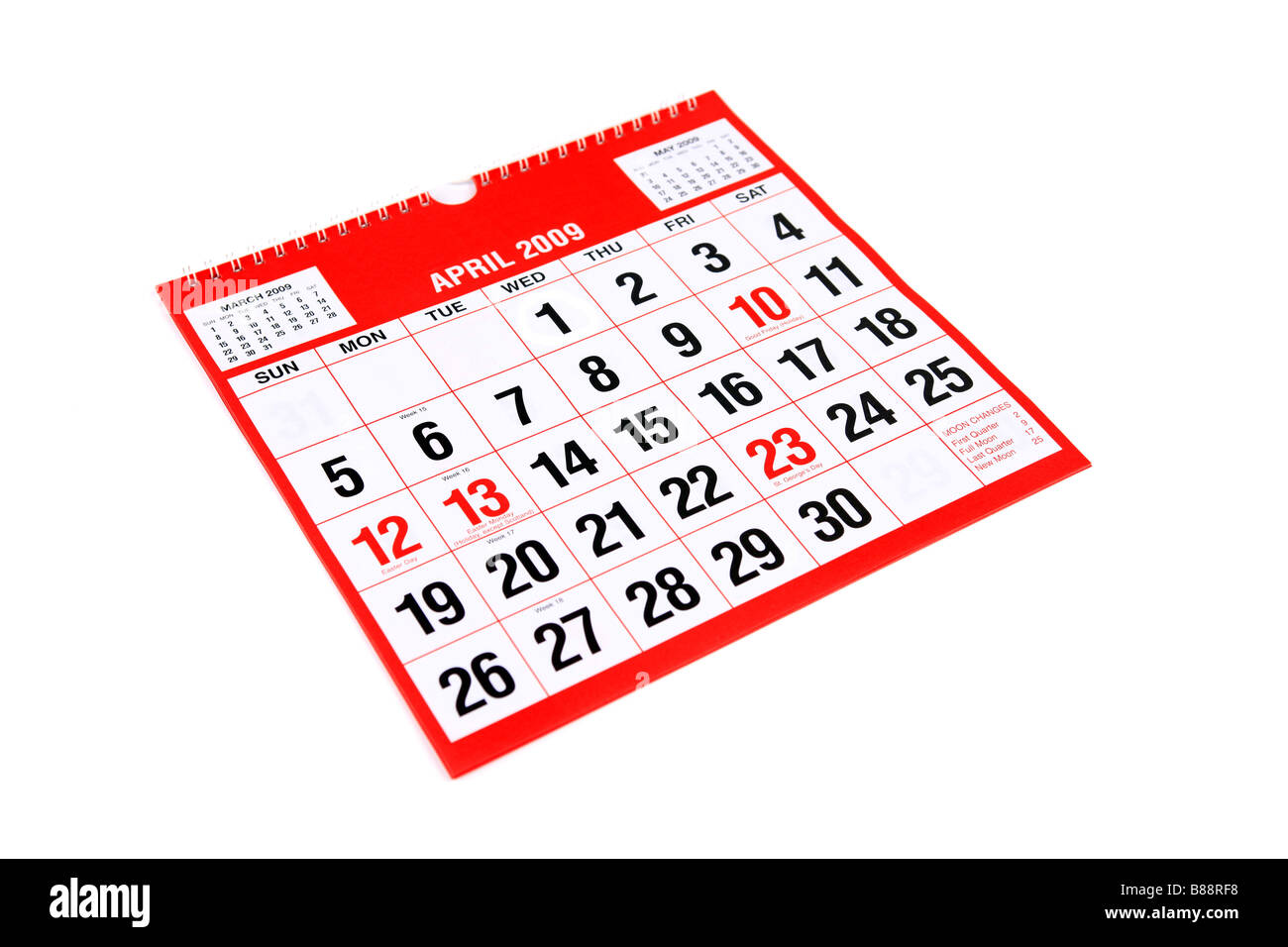 A calendar page with April 1st ringed to mark April Fools Day - Stock Image