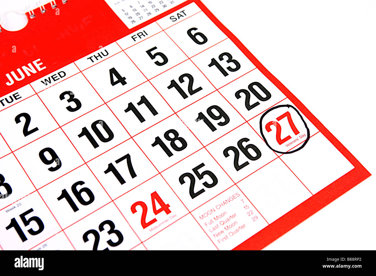 Calendar at the month of June with a black ring around the 27th Veterans day - Stock Image