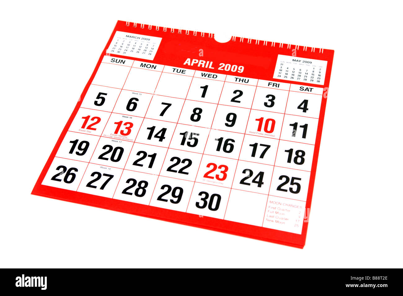 A calendar page with April on view - Stock Image