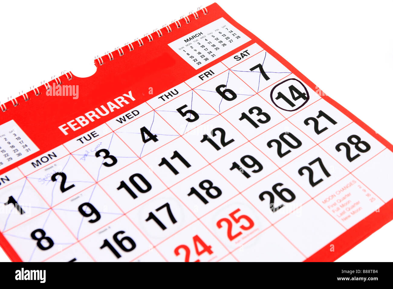 Calendar at the month of February with a black ring around the 14th St Valentine s day patron saint of lovers - Stock Image