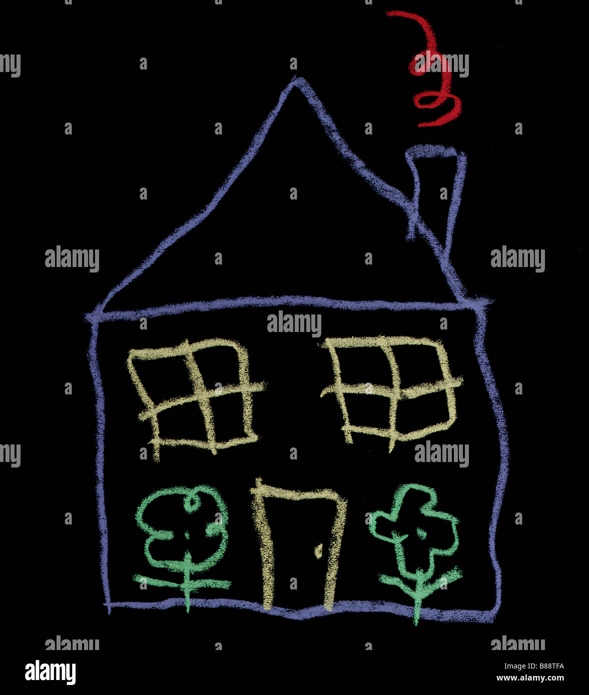 Kids chalk drawing of house - Stock Image