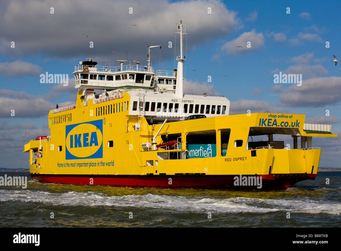 Cowes to Southampton Red Funnel Car Ferry Ikea Advert - Stock Image