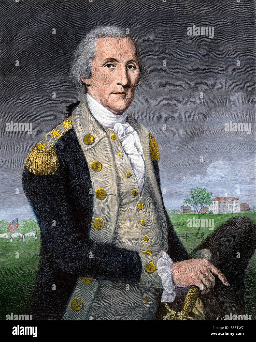 General George Washington at the close of the Revolutionary War. Hand-colored engraving - Stock Image