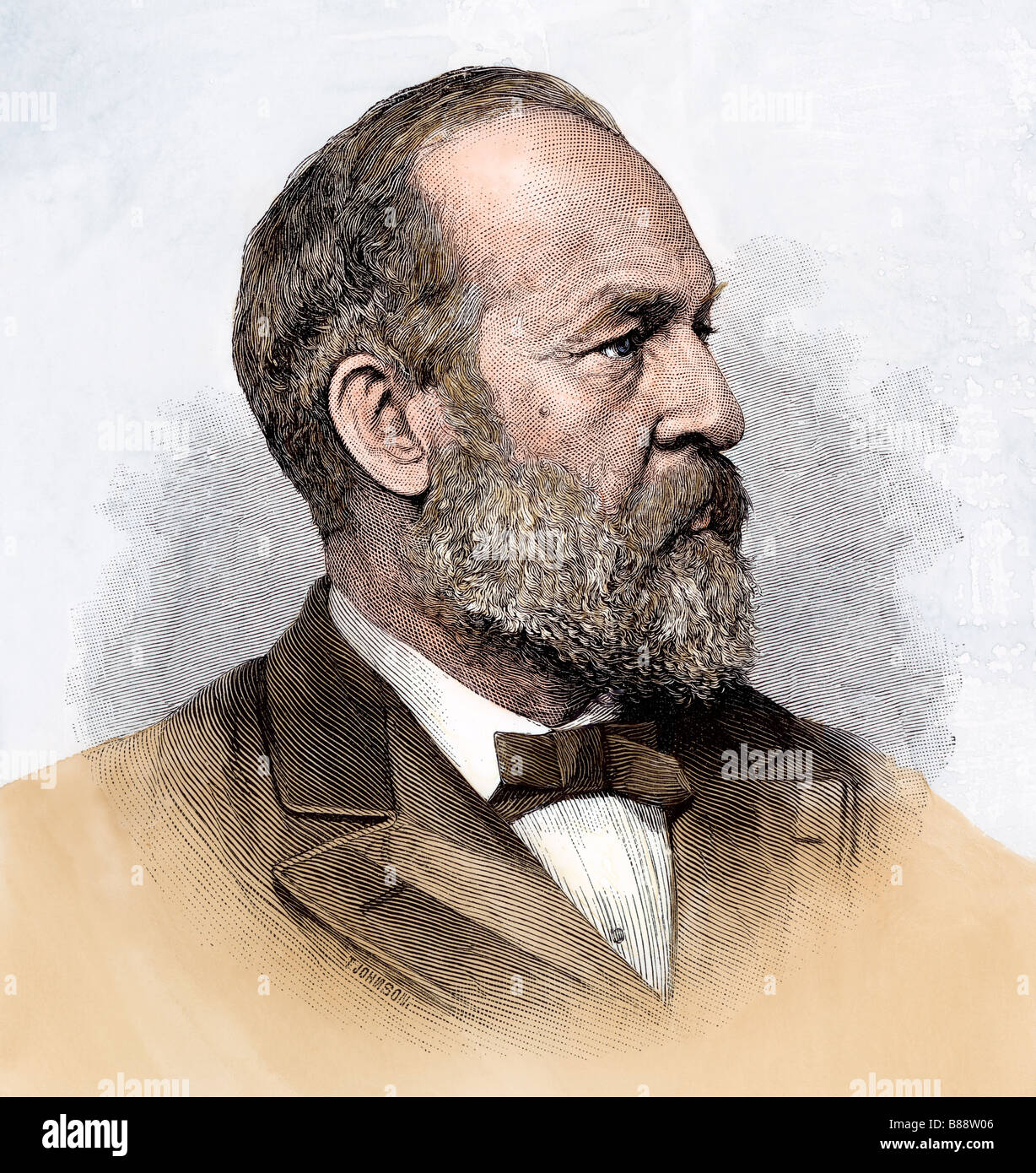 James A Garfield as President-elect 1880. Hand-colored woodcut - Stock Image