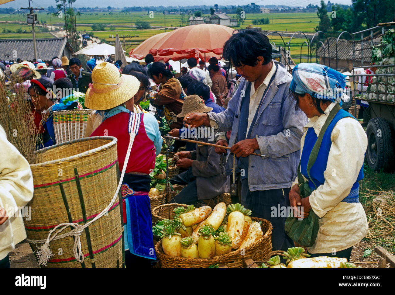 Chinese people, Bai people, Bai ethnicity, ethnic minority, vendor, vendors, shoppers, shopping, Monday Market, Stock Photo