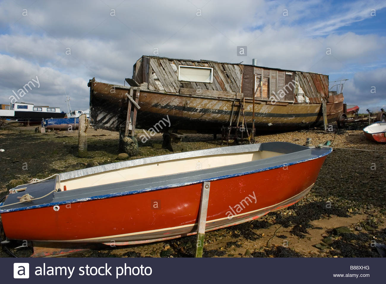 Old House Boat Eastney Portsmouth England - Stock Image