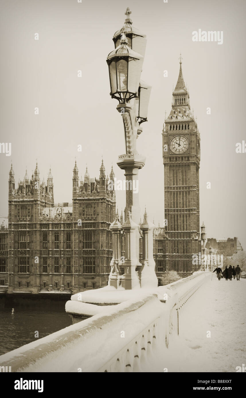 Big Ben in snow Stock Photo