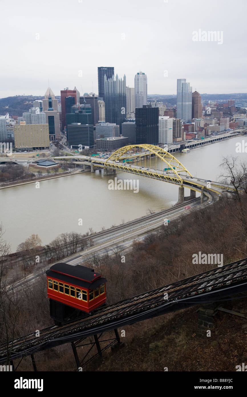 Duquesne Incline cable car Pittsburgh - Stock Image
