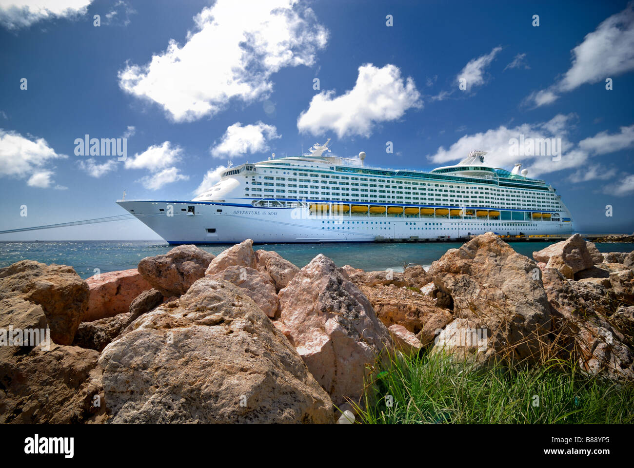 Royal Caribbean's Adventure of the Seas docked at Curacao, Netherlands Antilles (ABC Islands). - Stock Image