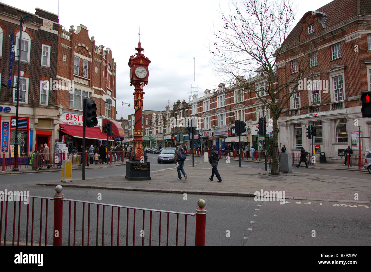 Jubilee Clock, High St, Harlesden, London, England - Stock Image