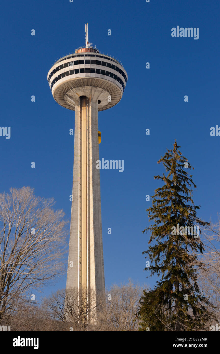 Ride to the top elevator of the Skylon Tower at Niagara Falls Canada in winter - Stock Image