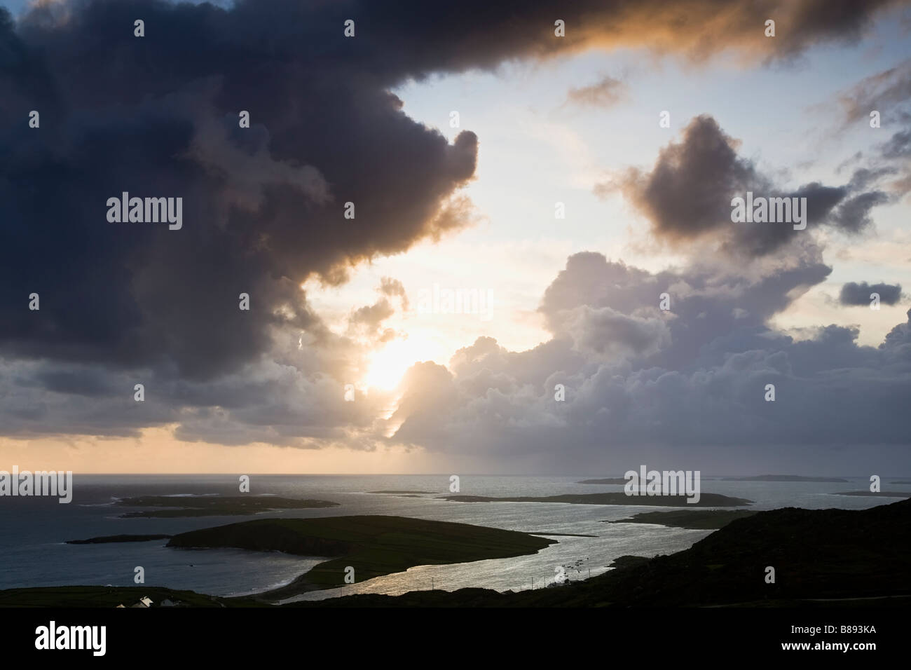 Dramatic Sunset over the County Galway Coastline and the Islands of the West of Ireland near the town of Clifden, Stock Photo