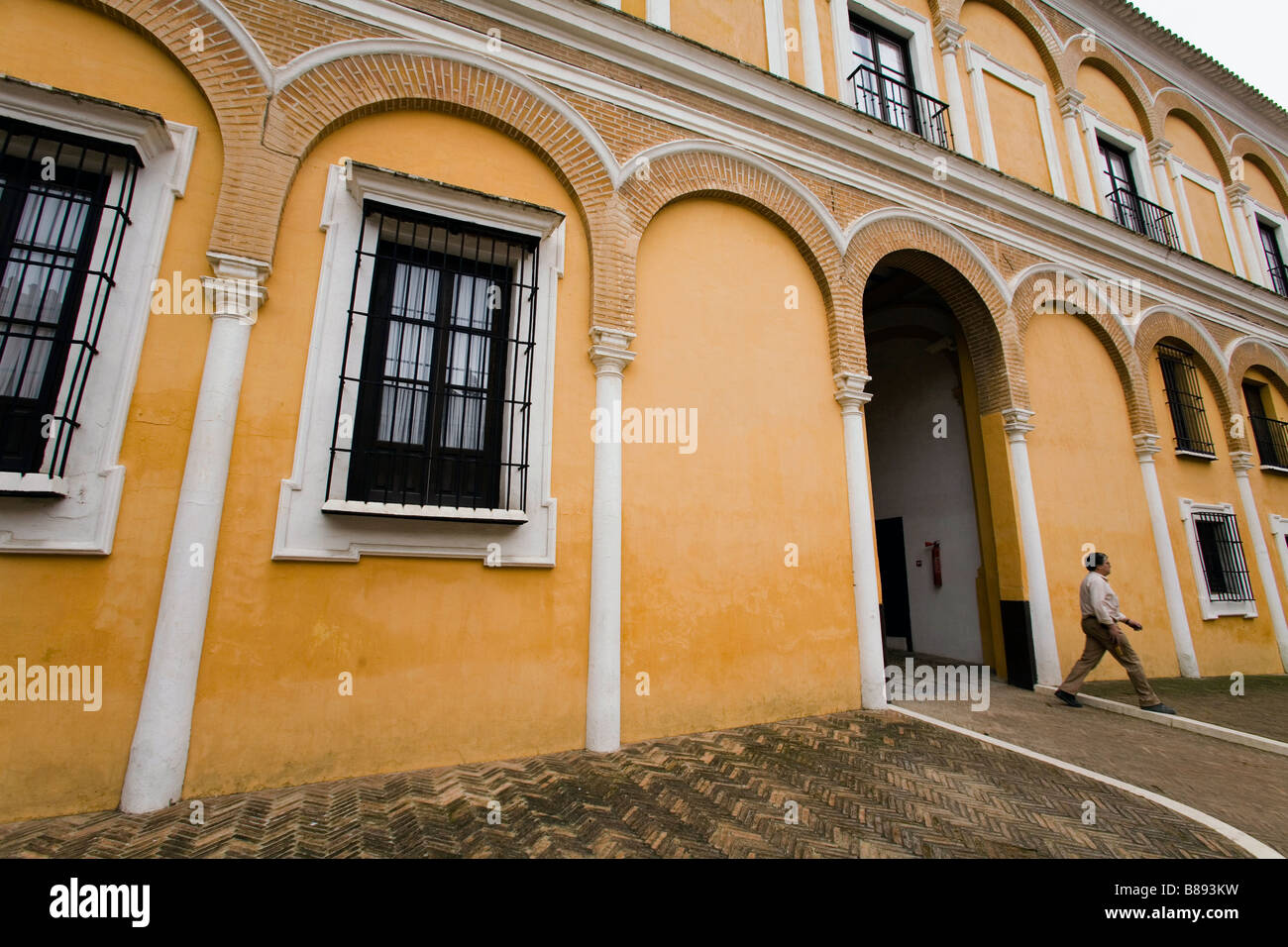 A courtyard inside the Alcazar a Moorish inspired palace in Seville Spain - Stock Image