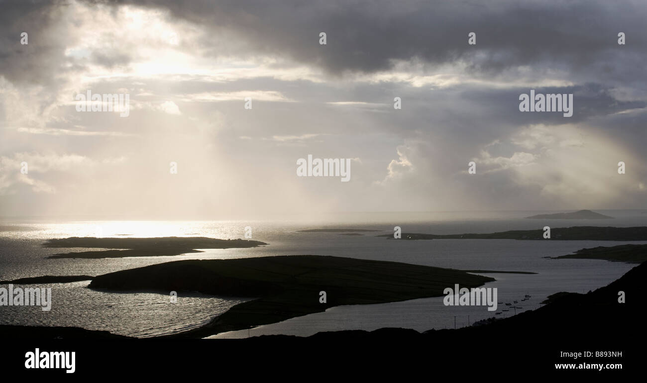 Dramatic Sunset over the County Galway Coastline and the Islands of the West of Ireland near the town of Clifden, - Stock Image