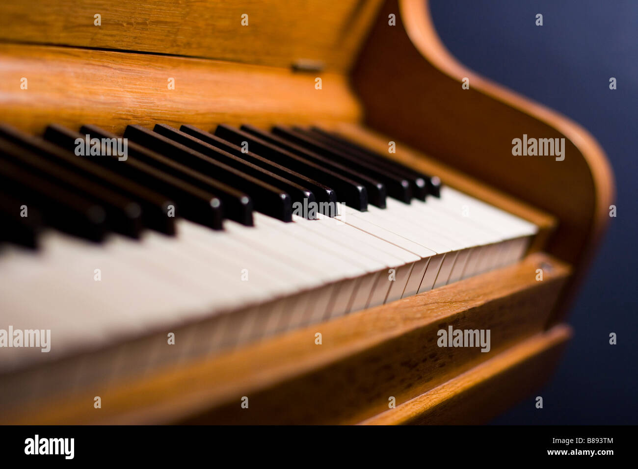 Angle shot of piano keyboard with shallow depth of field - Stock Image