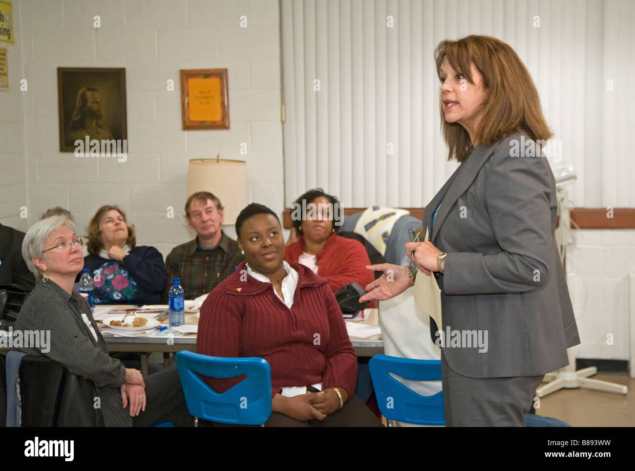 Political Candidate Speaks to Community Group - Stock Image