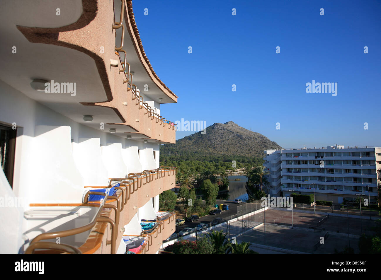 Balcony 4star Hotel Maritimo Puerto de Alcudia Town Mallorca Majorca Island Balearic Isles Mediterranean Sea Spain - Stock Image