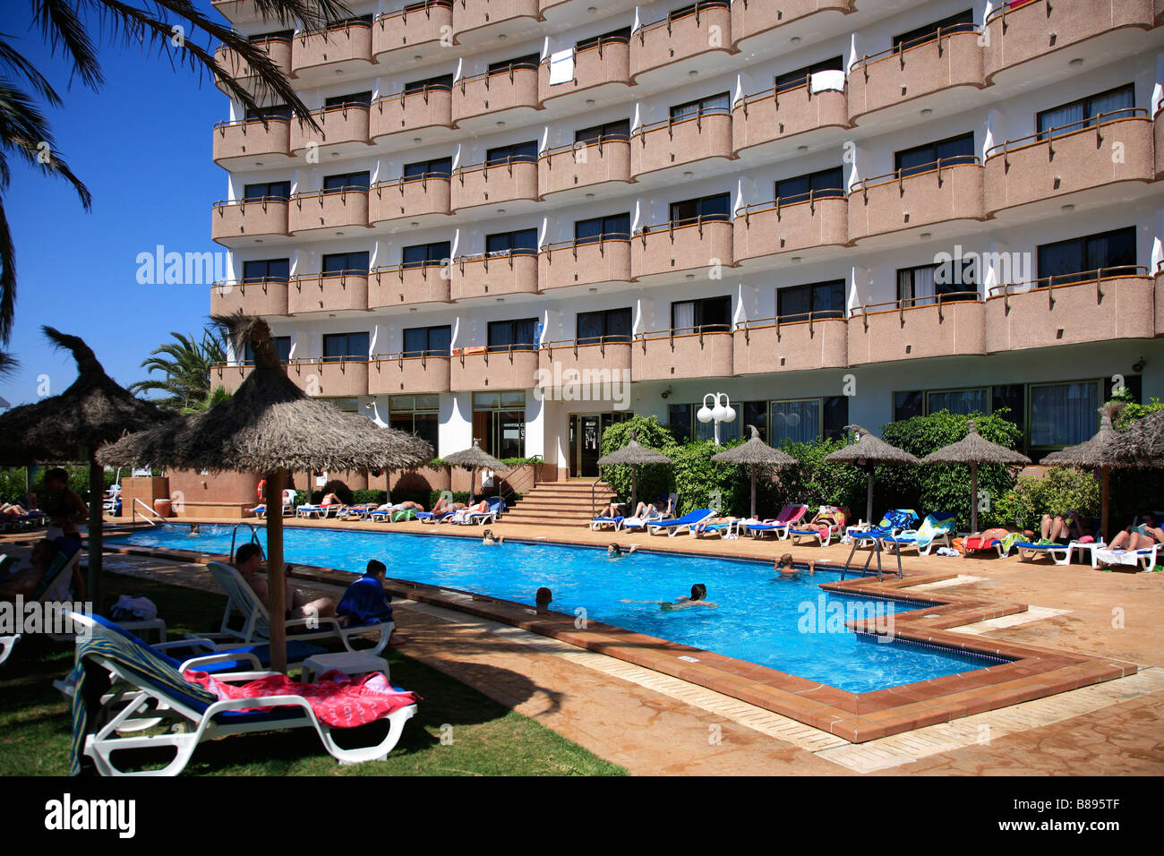 Swimming Pool at 4star Hotel Maritimo Puerto de Alcudia Town Mallorca Majorca Island Balearic Isles Mediterranean - Stock Image