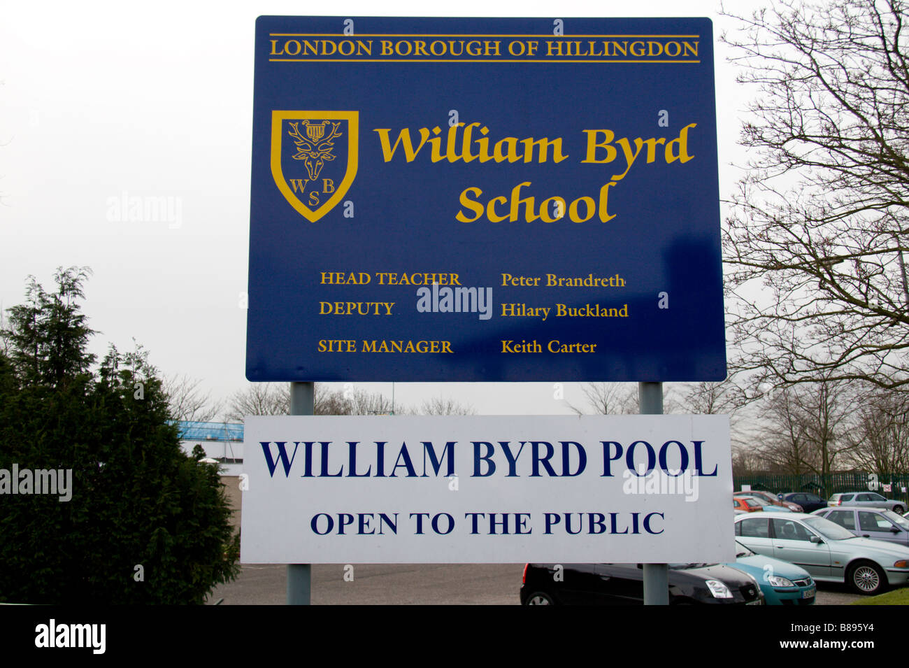 The William Byrd School, which will be directly below the flight path of Heathrow's proposed third runway. - Stock Image