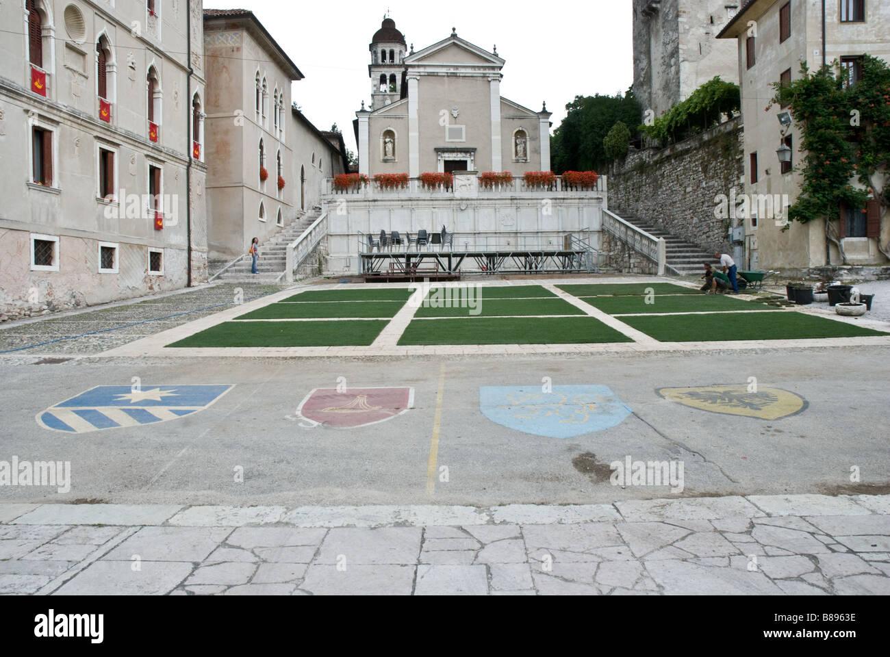 View of Piazza Maggiore with S Rocco church Feltre Veneto Italy - Stock Image