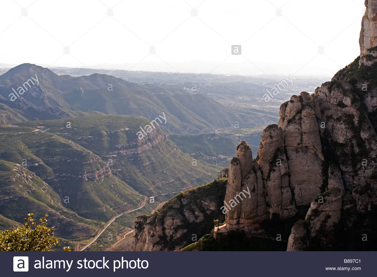 View from the Monastery of Montserrat in Barcelona Province, Catalonia Spain - Stock Image