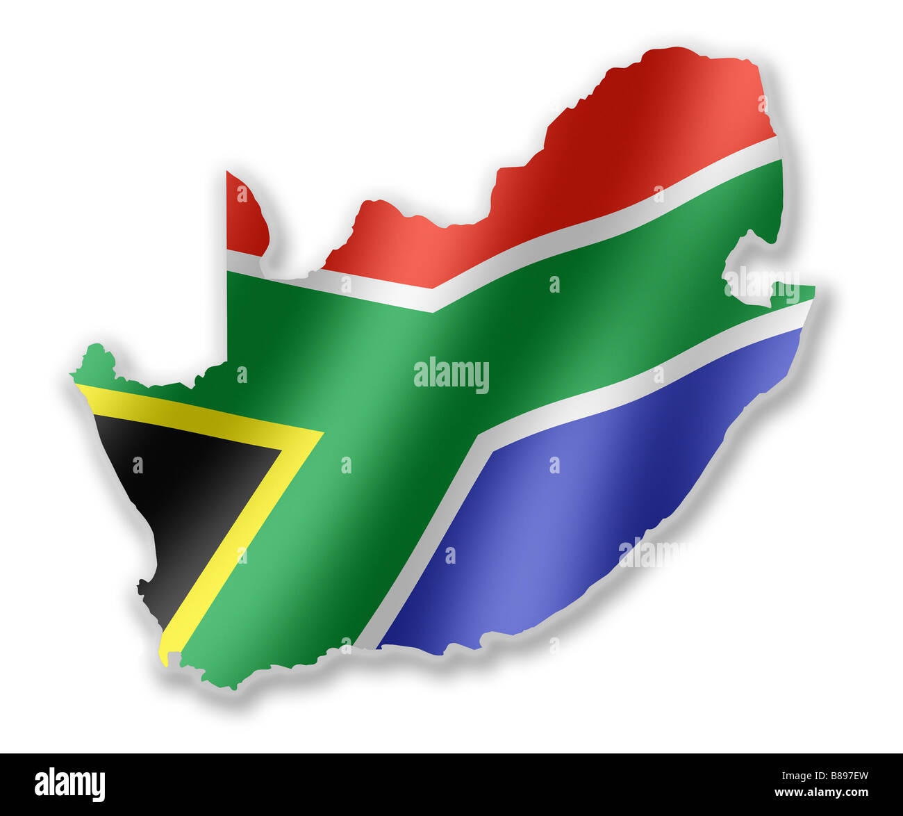 South Africa Flag In Africa Map.South Africa African Country Map Outline With National Flag
