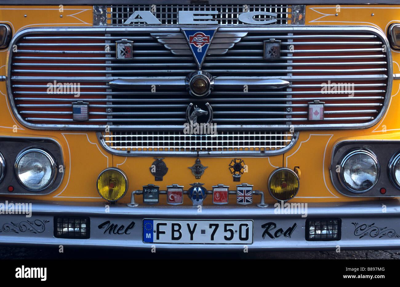 Chrome Radiator Grill of 1960s AEC Bus, Maltese Bus, Valletta, Malta - Stock Image