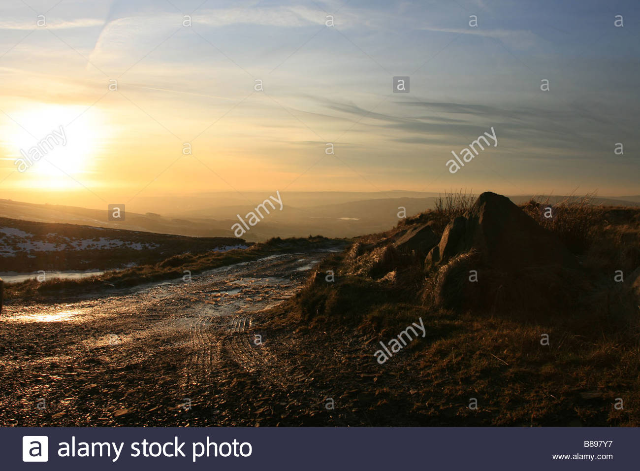 Winter Sunset, Staffordshire Moorlands, Mermaids Pool - Stock Image