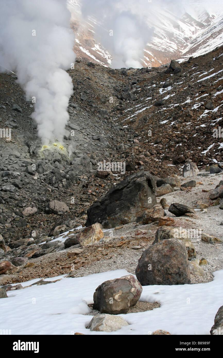 Steaming fumaroles at Asahidake / Mt Asahi, Daisetsuzan National Park, Hokkaido, Japan - Stock Image