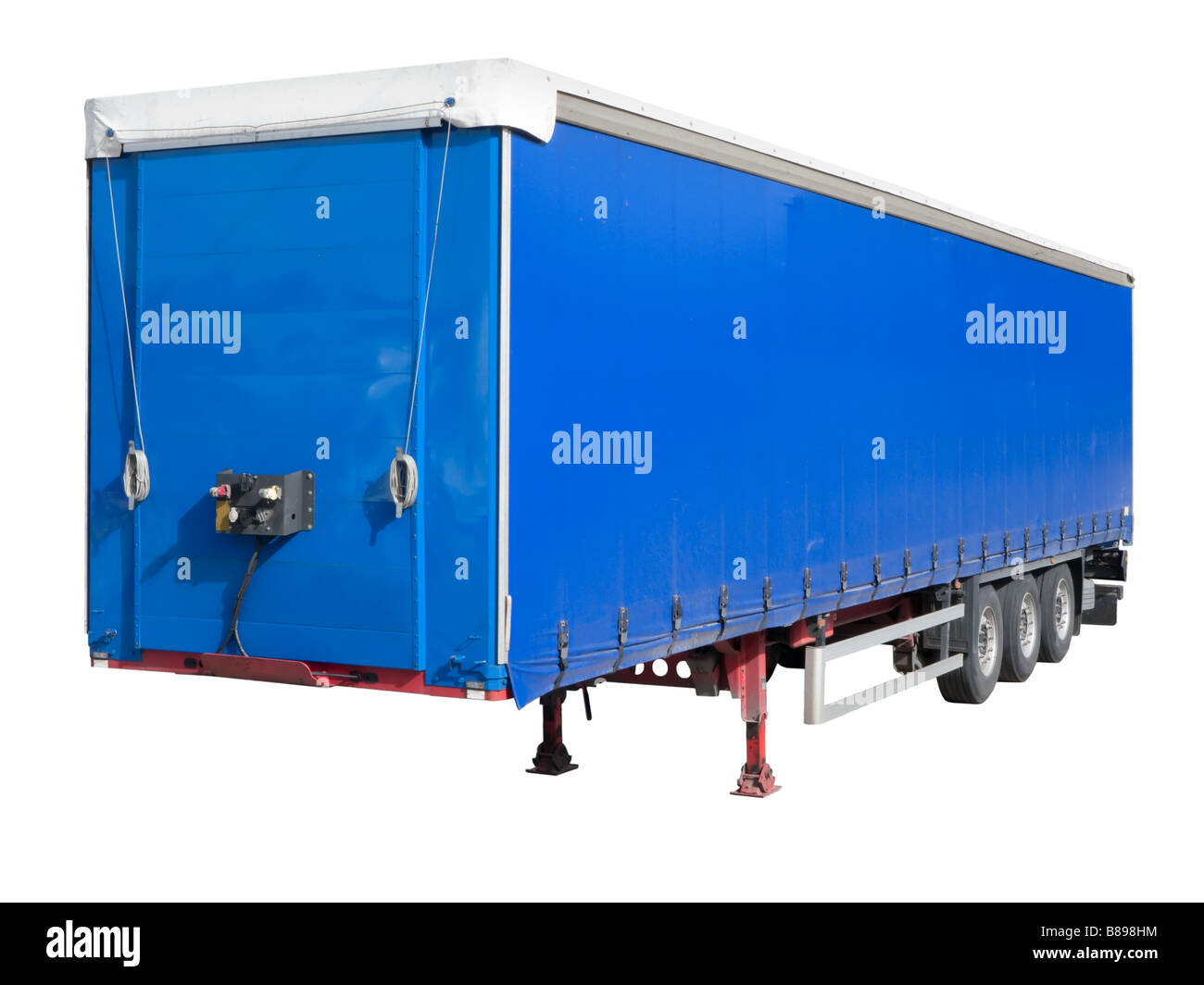 Disengaged trailer from a Semi Truck isolated on white - Stock Image
