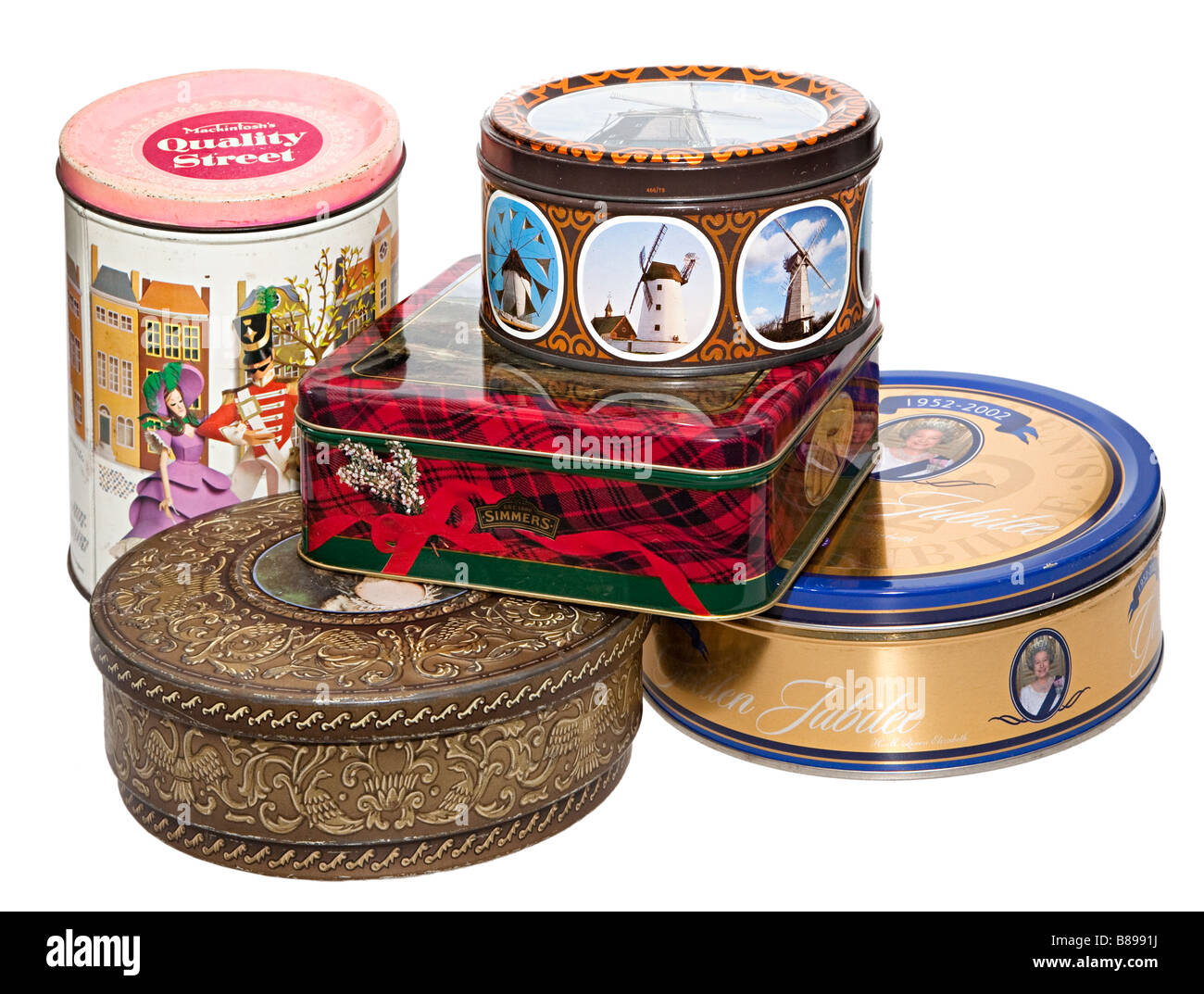 Collection of old metal biscuit and sweet tins UK - Stock Image