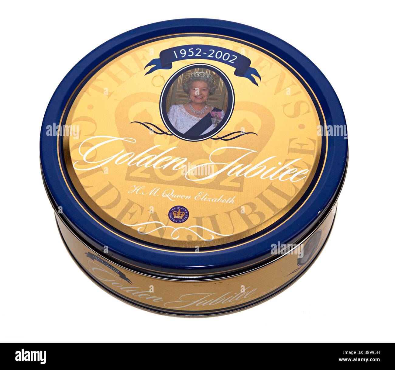 Queen Elizabeth II Golden Anniversary 1952-2002 on shortbread biscuit tin UK - Stock Image
