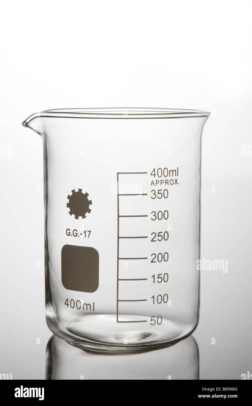 Glass beaker science lab - Stock Image