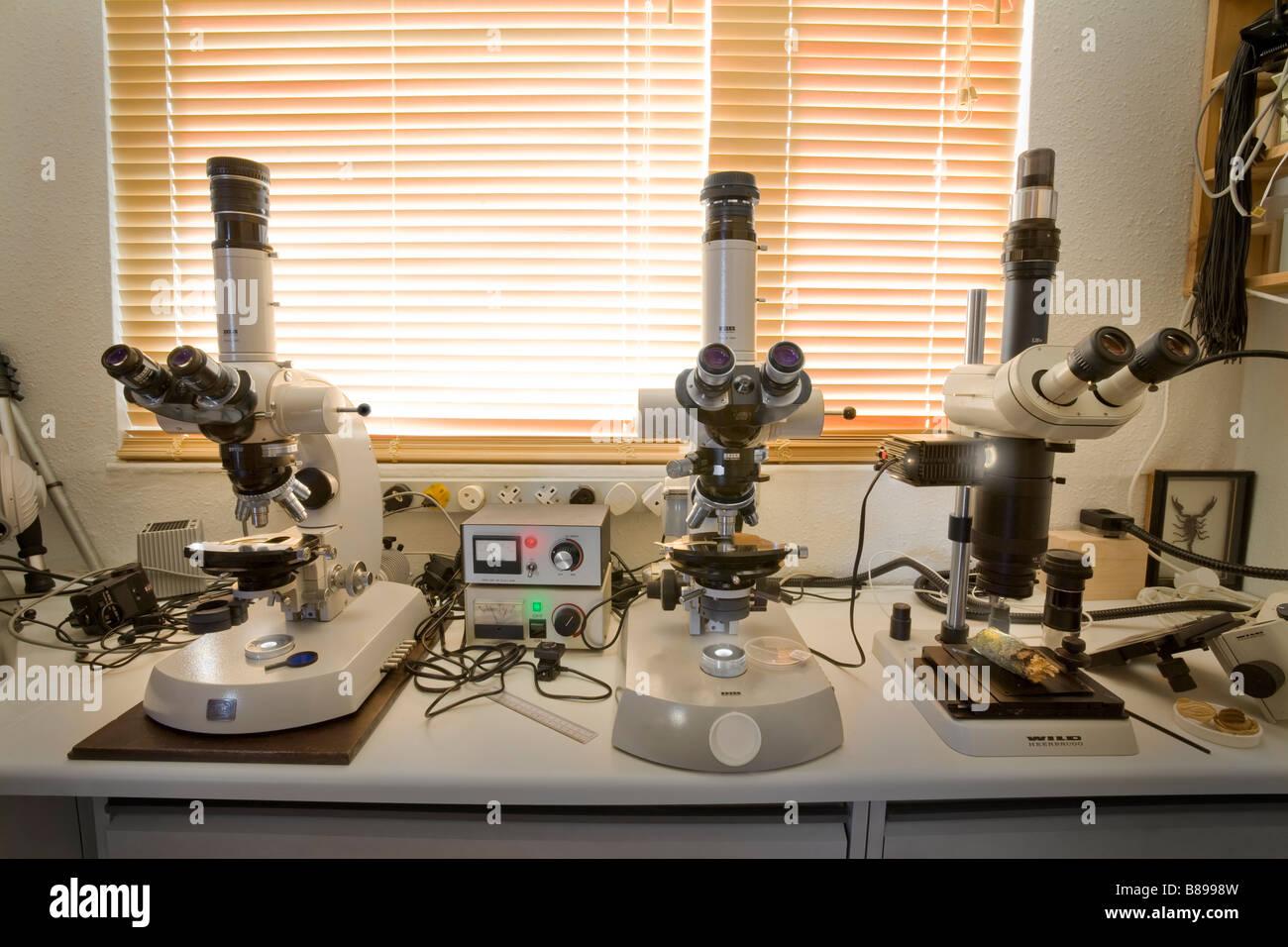 microscope science lab Zeiss Universal Wild M420 Leica - Stock Image