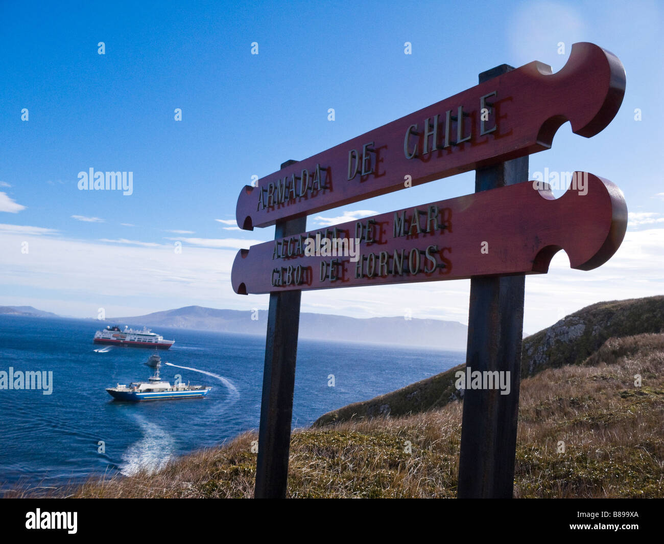 Signs at Cape Horn Chile Patagonia South America - Stock Image