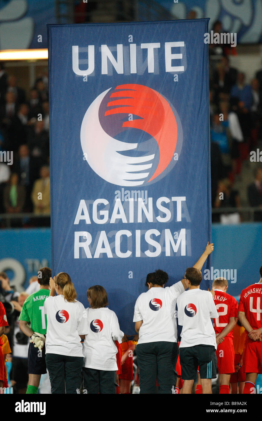 A Unite Against Racism sign is displayed prior to the start of the UEFA Euro 2008 semifinal match between Spain - Stock Image