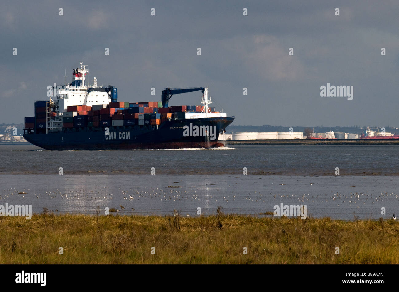 The container ship Matisse, steaming upriver on the River Thames. - Stock Image