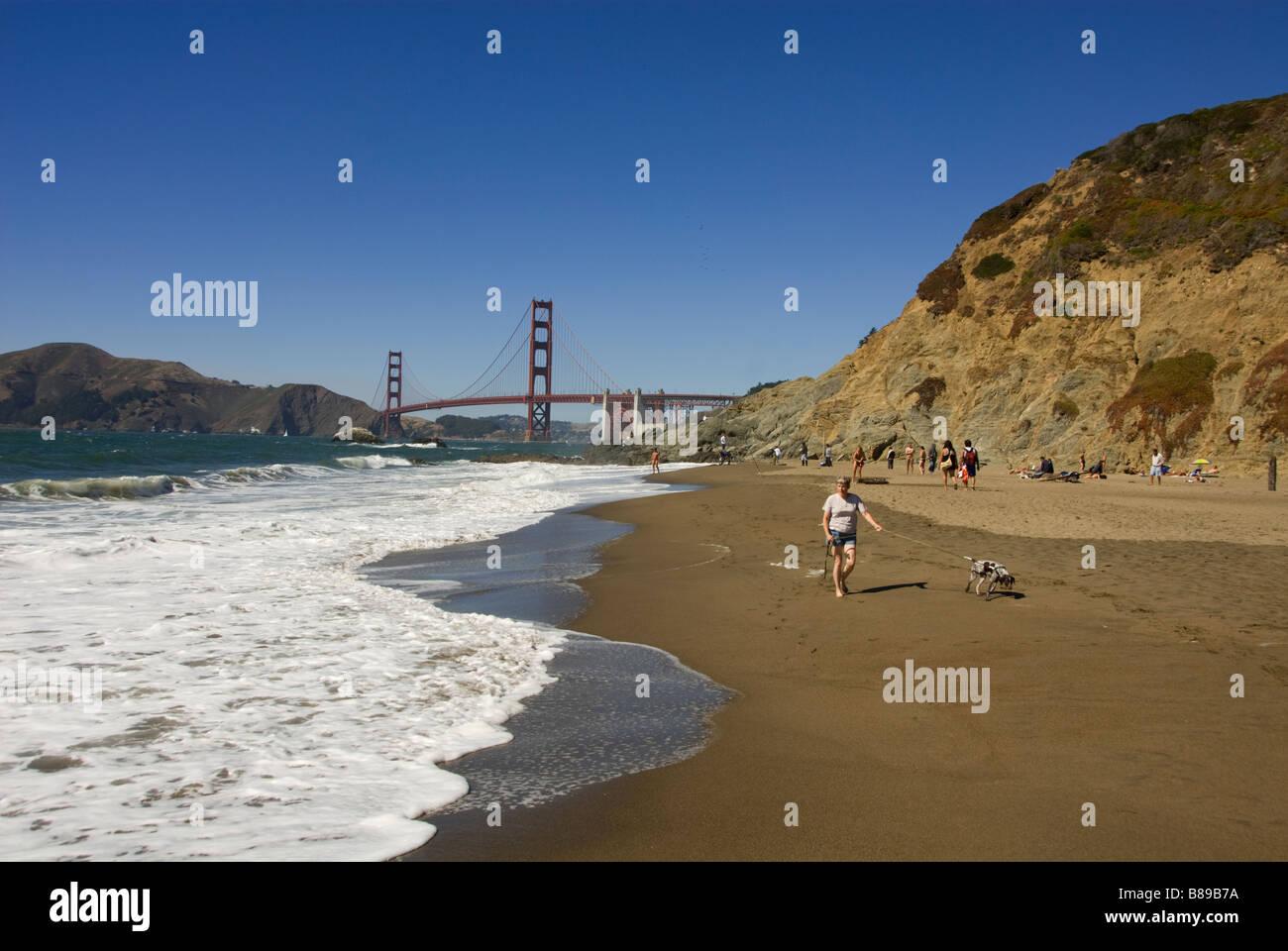 San Francisco Baker Beach with Golden Gate Bridge in background Photo 2 casanf83352 Photo copyright Lee Foster - Stock Image