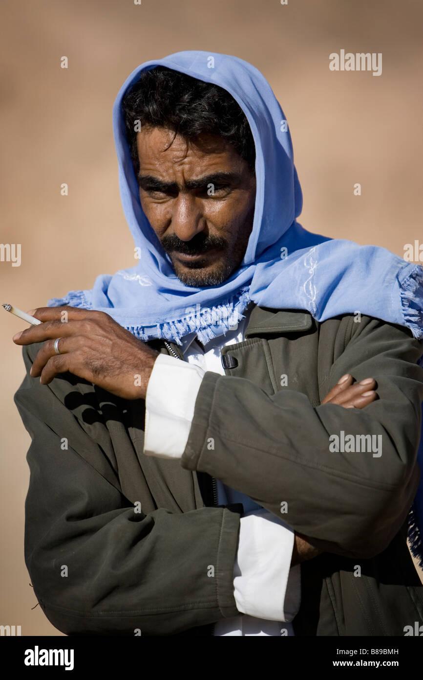 portrait of a Bedouin male in Egypt Stock Photo