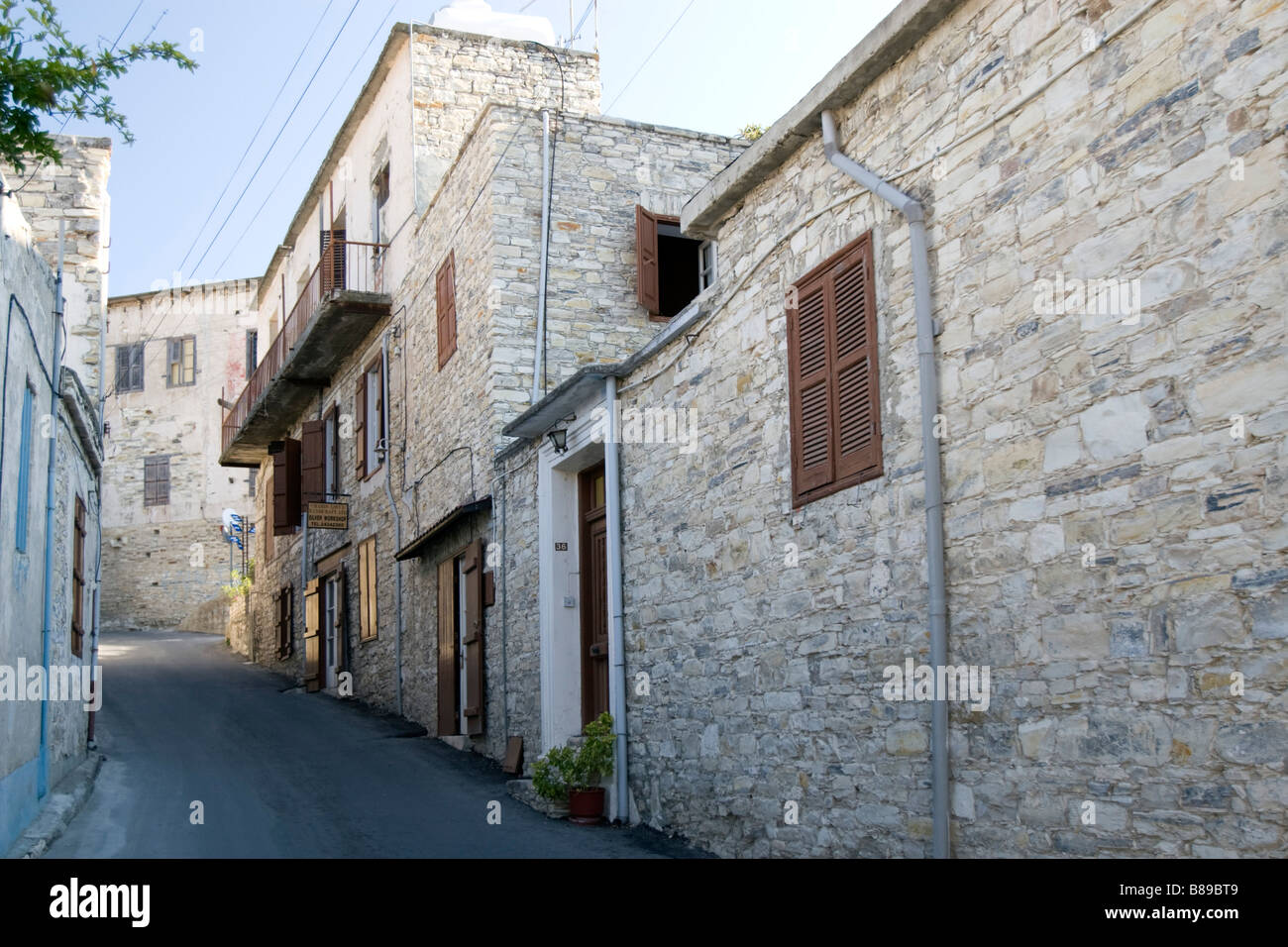 Street view on sunset in Lefkara, South Cyprus Stock Photo