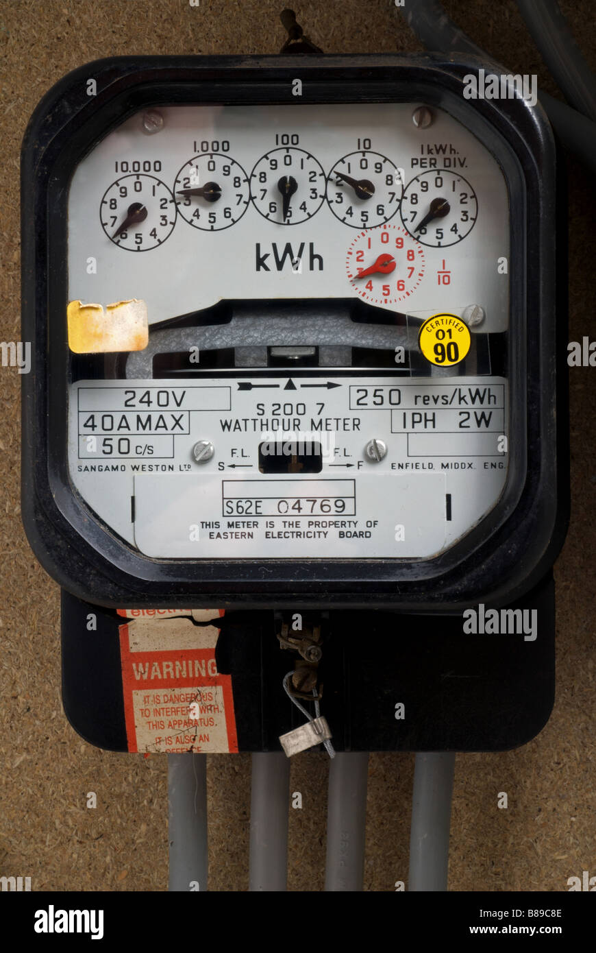 Domestic electricity meter, Bawdsey, Suffolk, UK. - Stock Image
